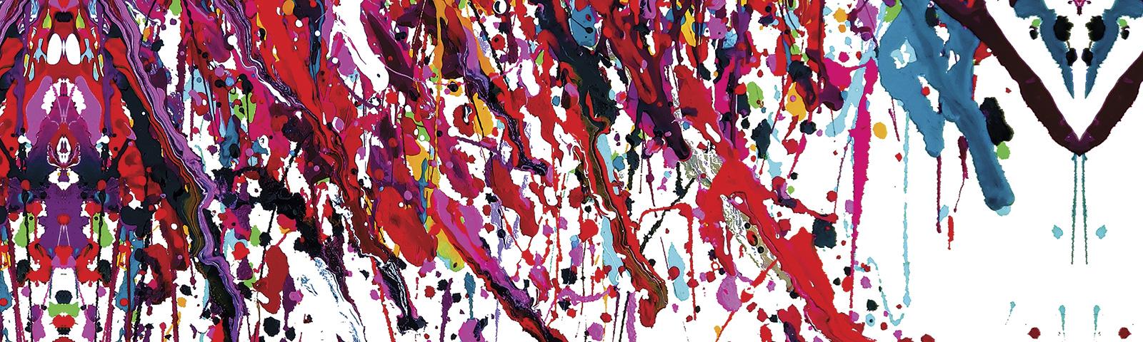 Canvas Leinwand Kunstdruck: Gemaelde bunte Farbtupfer auf weißem Hintergrund